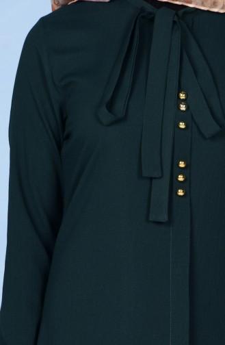 Kravat Yaka Tunik 1084-02 Zümrüt Yeşil 1084-02
