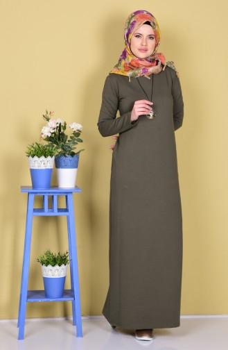 توبانور فستان مُحاك بتصميم مُزين بقلادة 2779-05 لون أخضر كاكي 2779-05