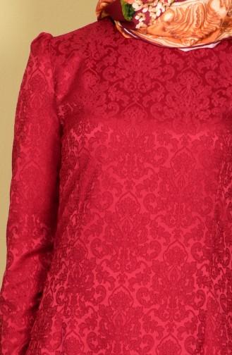 Claret Red Hijab Dress 2772-11