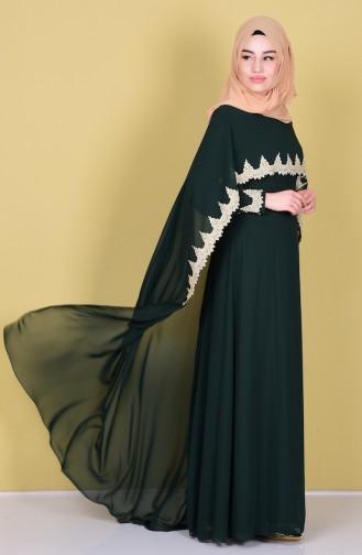 Pelerin Detaylı Elbise 52597-04 Yeşil Sefamerve