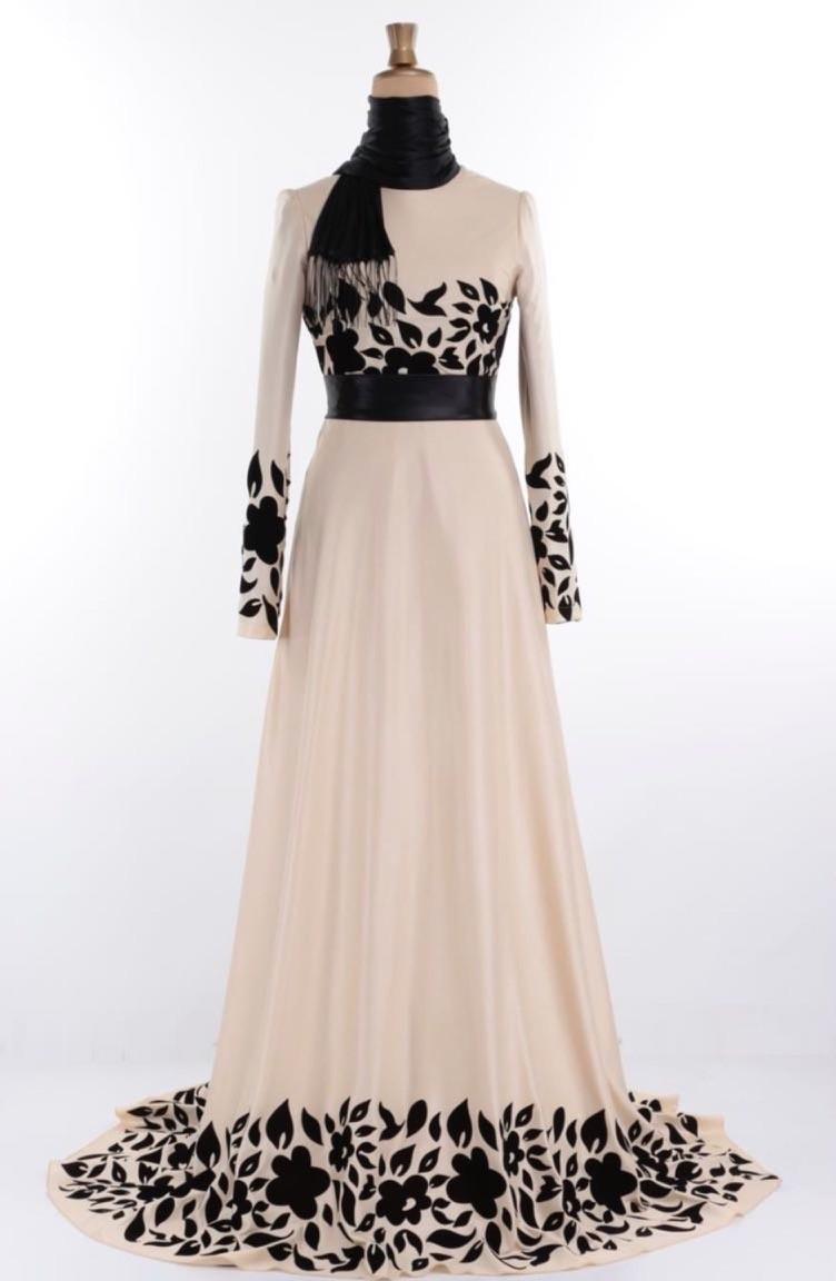 Beige Hijab-Abendkleider 1099-02