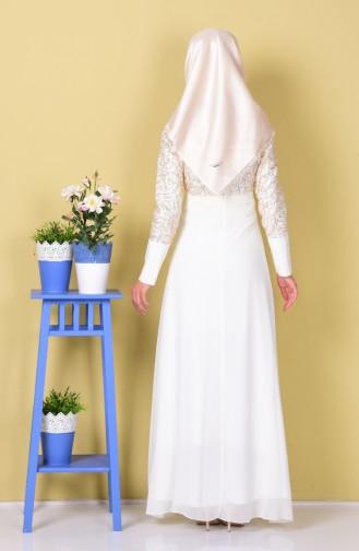 Ecru Islamic Clothing Evening Dress 2369-13