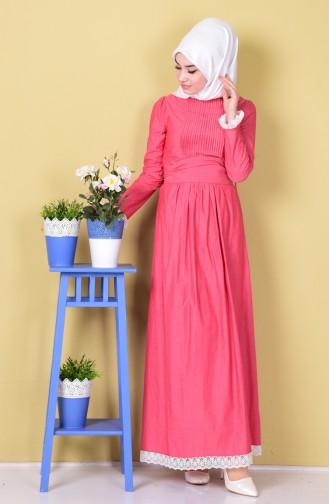 Kleid mit Spitzen Detail 0115-03 Koralle 0115-03