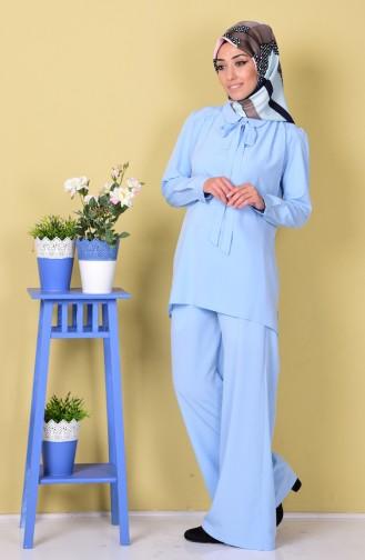 Tunik Pantolon İkili Takım 1407-02 Bebe Mavi Sefamerve