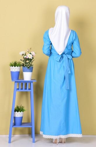 Dantel Detaylı Kemerli Elbise 0115-04 Turkuaz