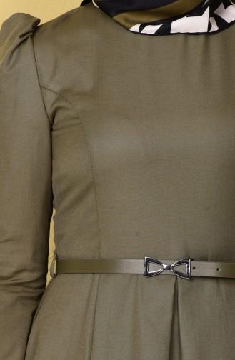 Kemerli Elbise 2781-09 Haki Yeşil 2781-09