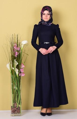 Kemerli Elbise 2781-02 Lacivert 2781-02