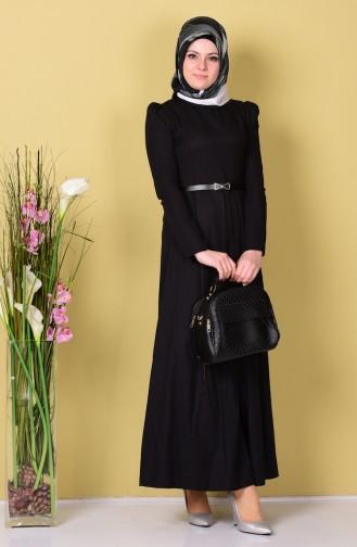 Kemerli Elbise 2781-12 Siyah 2781-12