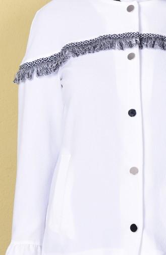 Veste a Boutons-Pressions Manches Volantes 1119-03 Blanc 1119-03
