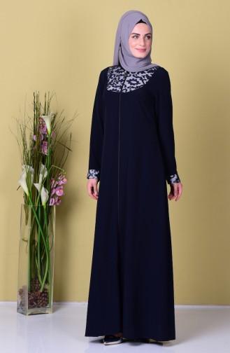 Navy Blue Abaya 1507-02