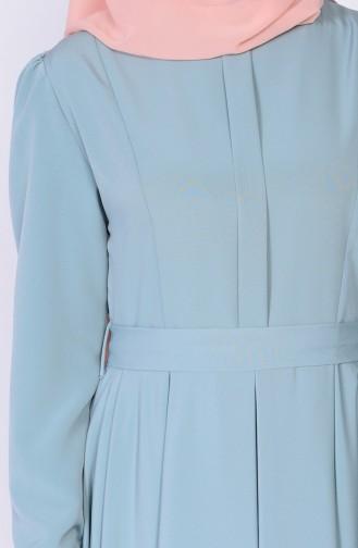 Robe Plissée a Ceinture 4102-03 Vert Noisette 4102-03