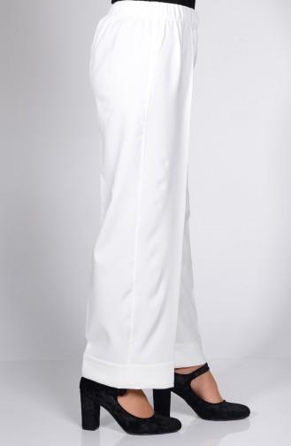 Pantalon Large Taille élastique 3087-02 Ecru 3087-02