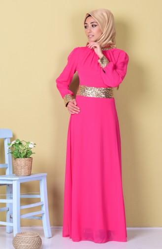 Fuchsia Islamic Clothing Evening Dress 2398-23