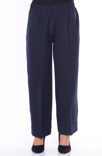 Beli Lastikli Bol Paça Pantolon 3087-01 Lacivert