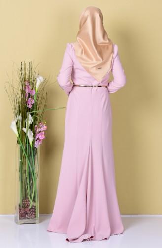 Powder Islamic Clothing Evening Dress 3006-03