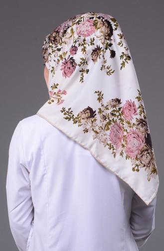 Echarpe Twill a Motifs Fleurs 50116-20 Ecru Rose Pâle 20