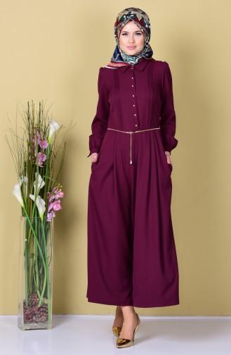 Buttoned Pleated Jumpsuit 4096-01 Purple 4096-01