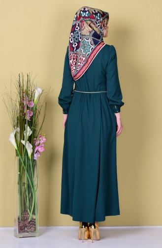 Buttoned Pleated Jumpsuit 4096-02 Emerald Green 4096-02