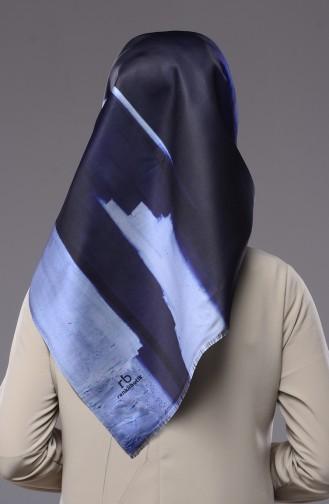 Echarpe İmprime Numérique 95003-01 Bleu Glacé Bleu Marine 01