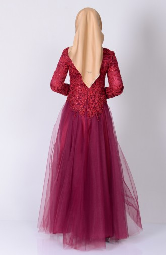 Claret red Islamic Clothing Evening Dress 6147-02
