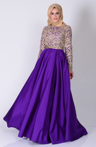 Purple Islamic Clothing Evening Dress 6306-05