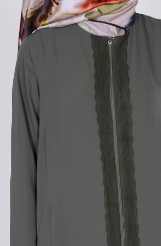 Abaya Détail Dentelle 1504-02 Vert Khaki 1504-02