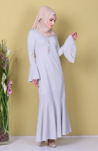 Kolyeli İspanyol Kol Elbise 6061A-03 Gri Sefamerve