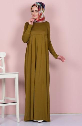 Pileli Elbise 0729-16 Yağ Yeşil Sefamerve