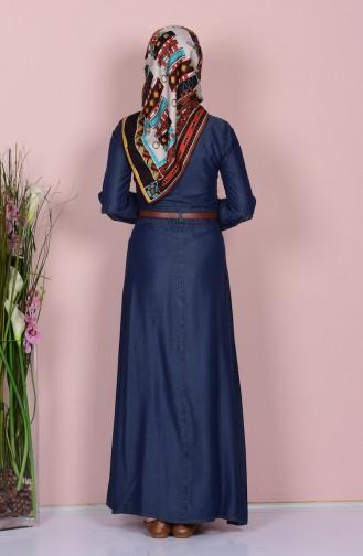 Nakışlı Kot Elbise 9172-01 Koyu Mavi 9172-01