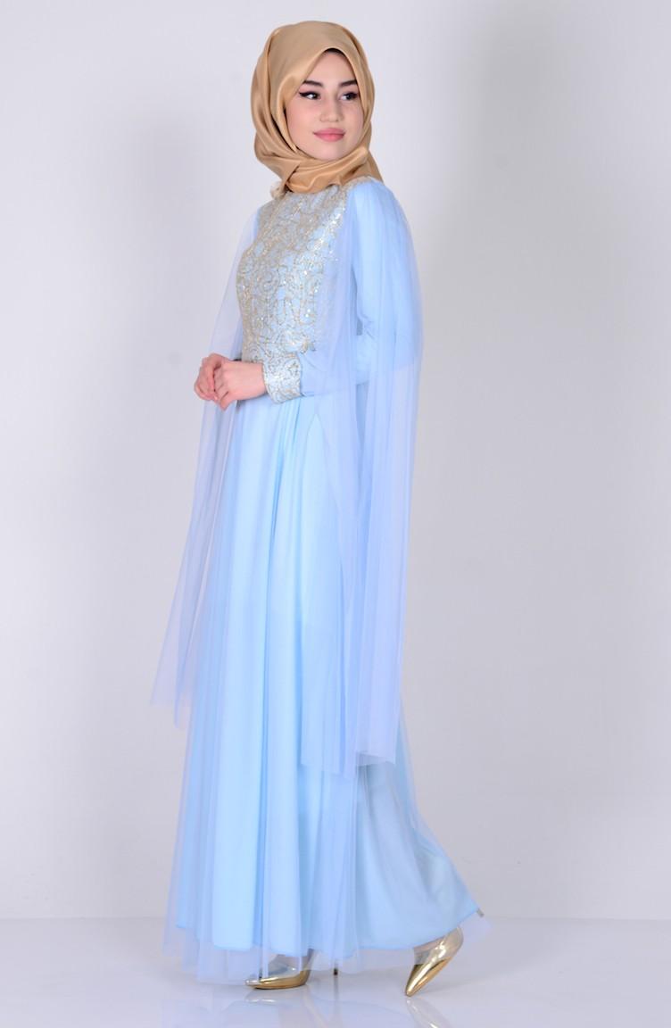 Übergröße Abendkleid mit Pailetten 3004-07 Baby Blau 3004 ...