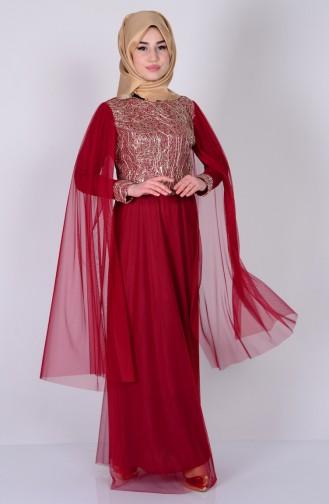 Pul Payetli Abiye Elbise 3004-08 Bordo Sefamerve