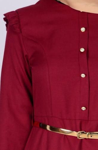 Robe Ceinture detail épaules 2255-05 Bordeaux 2255-05