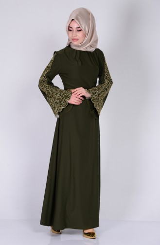 Nakışlı Abiye Elbise 5028-01 Haki Yeşil Sefamerve