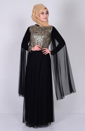 Pul Payetli Abiye Elbise 3004-09 Siyah Sefamerve