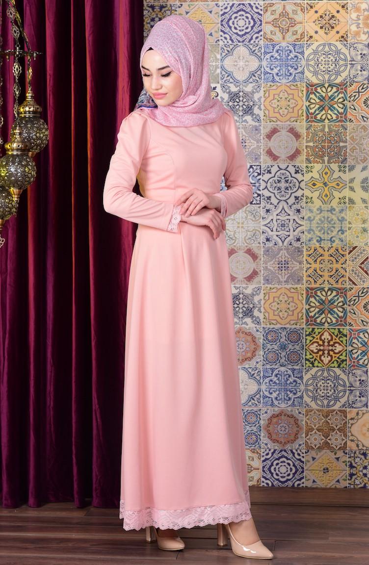 Robe Hijab Saumon 6082 02