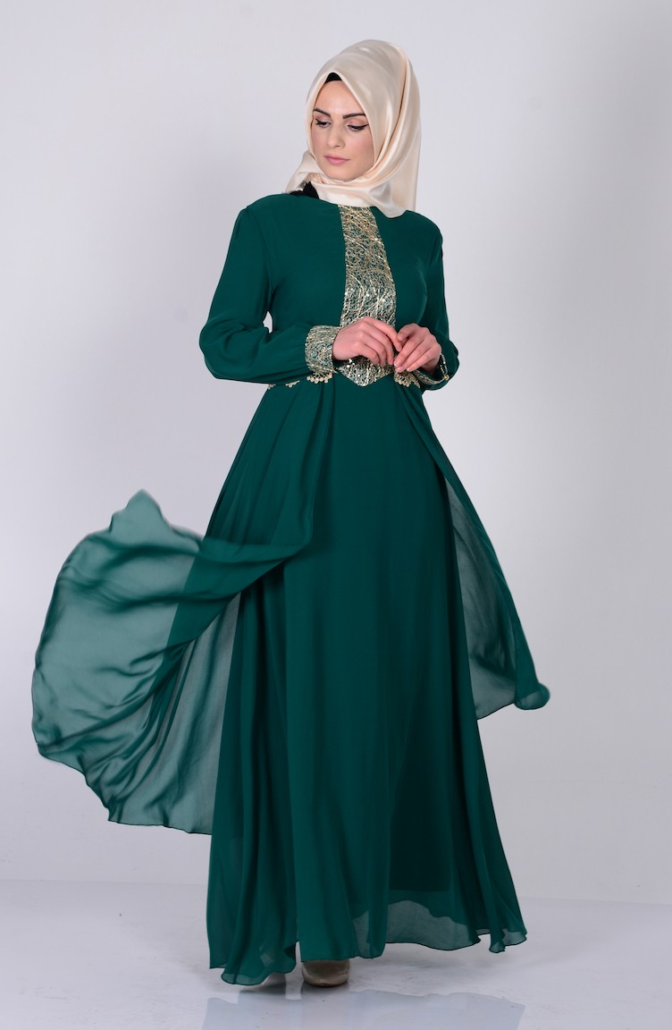 Kleid mit Pailetten 2863-07 Grün 2863-07 | Sefamerve