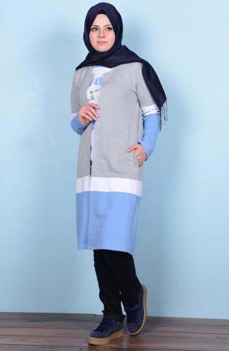 Kap Tunik İkili Takım 1315-05 Bebe Mavi Gri