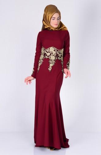 Asymmetrisches Abendkleid mit Spitzen 3005-01 Weinrot 3005-01