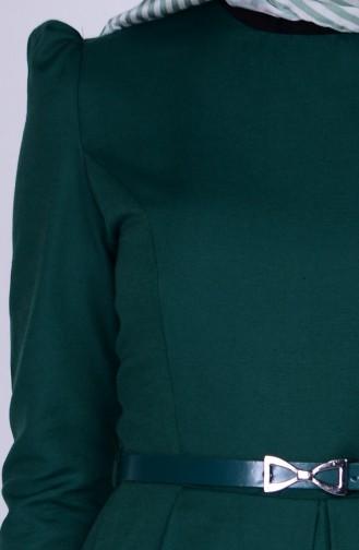 Kemerli Elbise 2781-13 Zümrüt Yeşil 2781-13