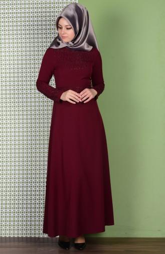 Sefamerve Taş Detaylı Kemerli Elbise 0110-04 Bordo