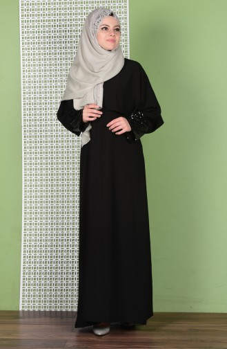 Abaya Détail Paillette 5802-01 Noir 5802-01