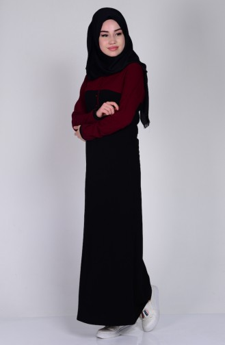 Polo Yaka Garnili Elbise 2802-01 Siyah Bordo Sefamerve