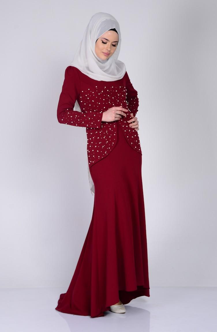 49aa08f1bf7e1 İnci Detaylı Elbise 3009-05 Bordo