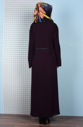 Abaya a Fermeture 7716-02 Pourpre 7716-02