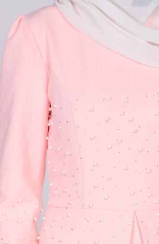 Robe Détail Perles 3009-01 Saumon 3009-01