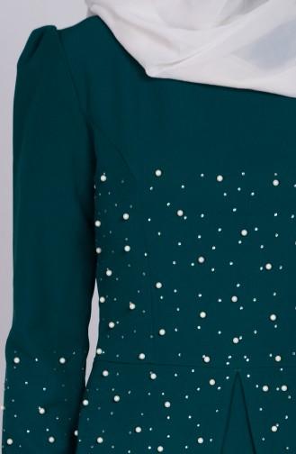 Robe Détail Perles 3009-03 Vert emeraude 3009-03