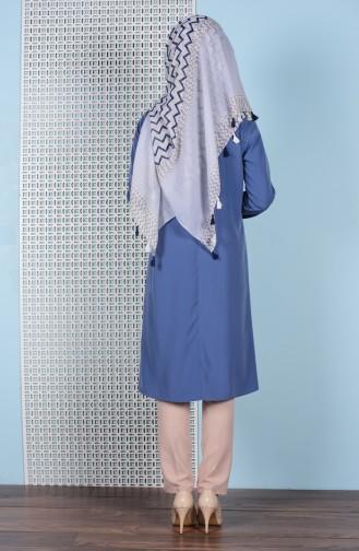 Kravat Detaylı Tunik 3053-01 Koyu Mavi