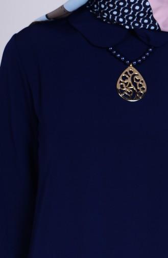 Tunique avec Collier 1421-04 Bleu Marine 1421-04