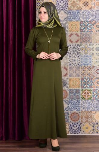 Kolyeli Elbise 4082-05 Yeşil