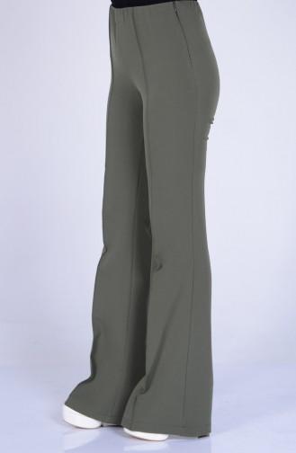 İspanyol Paça Pantolon 5574-09 Açık Haki Yeşil
